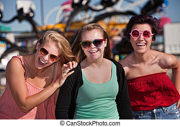 csinos, lány, három, nevető