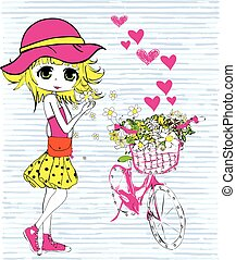 csinos, leány, bicikli