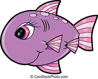 csinos, leány, fish, óceán, vektor