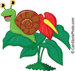 csinos, levél növényen, karikatúra, csiga
