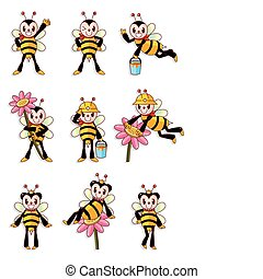 csinos, méh, ikonok, állhatatos