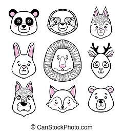 csinos, mókus, állhatatos, trikó, nyuszi, tervezés, otthon, style., lakberendezési tárgyak, lustaság, kártya, őz, állat, ünnep, kutya, white., plakátok, nyomtat, panda, róka, oroszlán, felhívások, köszönés, skandináv, bear., arc, fekete