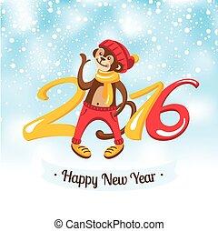 csinos, majom, köszönés, év, új, kártya