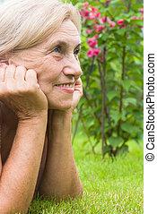 csinos, nő, öregedő, természet