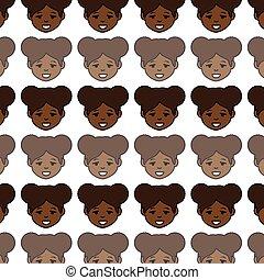 csinos, nő, betű, ethnicity, afrikai