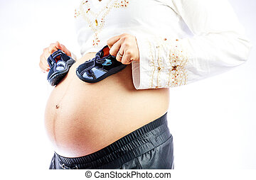 csinos, nő, cipők, neki, terhes, csecsemő, belly.