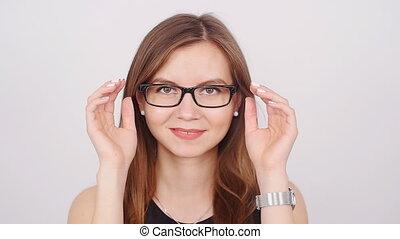 csinos, nő, fiatal, ügy, szemüveg