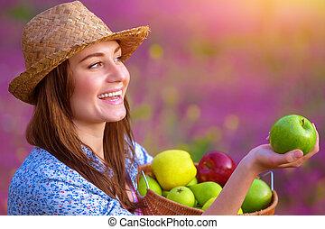 csinos, nő, kínálat, alma