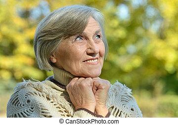 csinos, nő, liget, öregedő