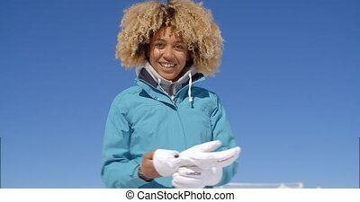 csinos, nő, télikabát, haj, göndör