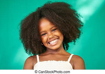 csinos, női, fiatal, fekete, latina, meglehetősen, gyermek, lány mosolyog