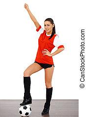 csinos, női, futball játékos