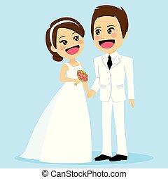 csinos, párosít, esküvő, hatalom kezezés