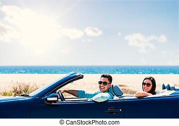 csinos, párosít, vezetés, convertible.