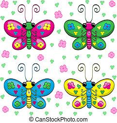 csinos, pillangók, karikatúra
