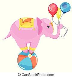 csinos, rózsaszínű, kacs, elefánt