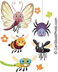csinos, rovar, színes, szerencsetárgy