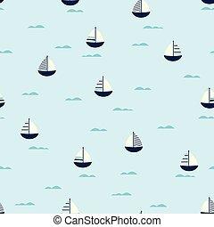 csinos, seamless, csónakázik, motívum