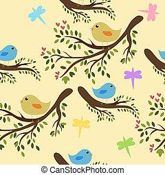 csinos, seamless, háttér, madarak