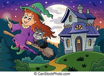 csinos, seprű, boszorkány, kísért épület