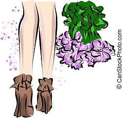 csinos, skicc, mód, bíróság, shoes., kéz, accessories., húzott, combok