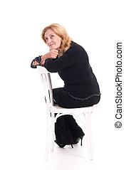 csinos, szék, nő, öregedő