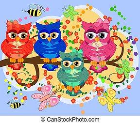 csinos, színes, ülés, böllér, fa, három, karikatúra, furcsa, flowers., baglyok, háttér., elágazik, fehér, madarak