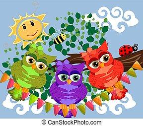 csinos, színes, ülés, fa, három, baglyok, flowers., elágazik, karikatúra