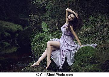 csinos, táj, természet, nő