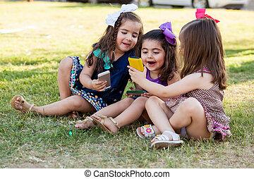 csinos, társadalmi, networking, együtt, lány