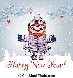 csinos, tél, bagoly, watercolor., köszönés, vektor, év, új, kalap, kártya, boldog