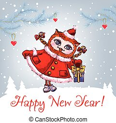 csinos, tél, bagoly, watercolor., köszönés, vektor, év, új, ...