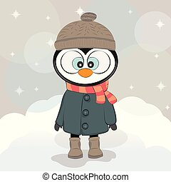 csinos, tél, pingvin, alatt, egy, bőr, noha, kalap, és, scarf.