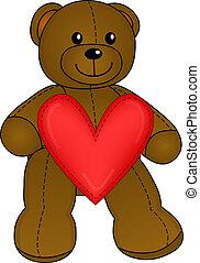 csinos, teddy-mackó, noha, szív, vektor