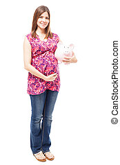 csinos, terhes nő, takarékbetét pénz