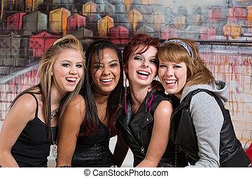 csinos, tizenéves kor, csoport, nevető