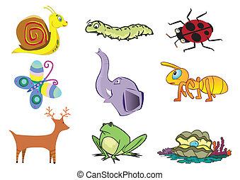 csinos, vektor, állat, ábra, válogatott