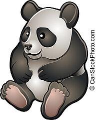 csinos, vektor, barátságos, ábra, panda