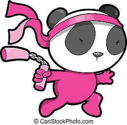 csinos, vektor, hord, rózsaszínű, ninja, panda