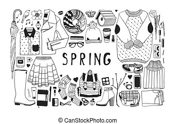 csinos, vektor, művészet, work., drawing., eredet, doddle, ábra, kéz, háttér., kifogásol, művészi, tinta, húzott, pattern., mód, kreatív, évad
