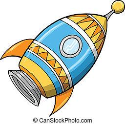 csinos, vektor, rakéta, ábra