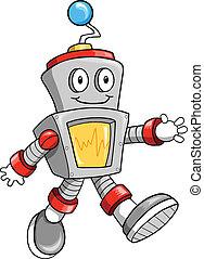 csinos, vektor, robot, boldog