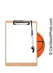 csipeszes írótábla, és, kosárlabda