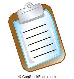 csipeszes írótábla, diagram, ikon