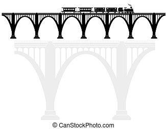 csipkekötés, bolthajtás, beton, bridzs, noha, egy, gőz, locomotive., szállít, infrastructure., szállítás, közül, passengers.