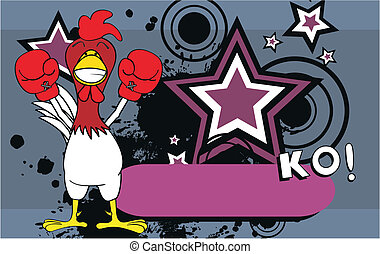 csirke, ökölvívás, background10, karikatúra