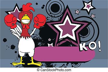 csirke, ökölvívás, karikatúra, background10