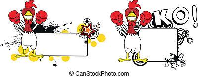 csirke, ökölvívás, karikatúra, copyspace5