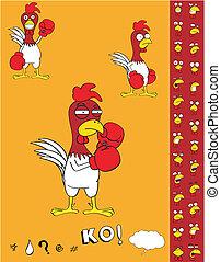 csirke, ökölvívás, karikatúra, set1