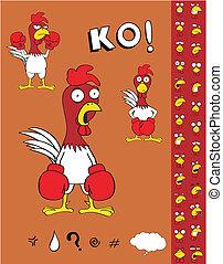 csirke, ökölvívás, karikatúra, set3